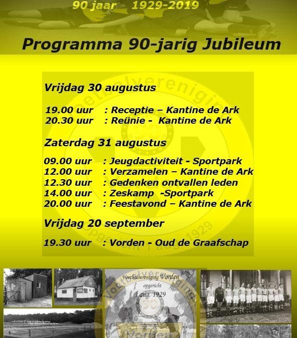 Jubileumprogramma 'v.v. Vorden 90 jaar'