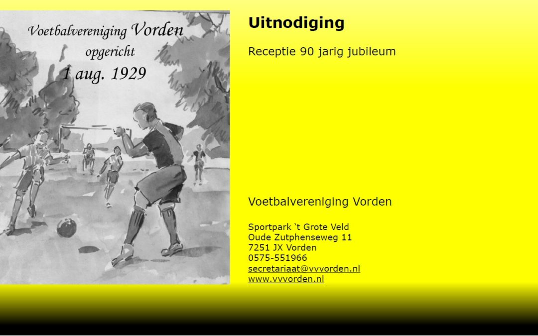 Uitnodigingen receptie 90-jarig jubileum