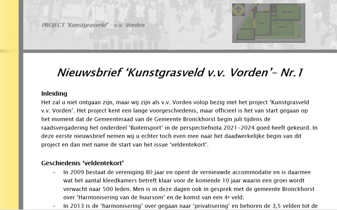 Nieuwsbrief nr. 1 – Project 'Kunstgrasveld' v.v. Vorden