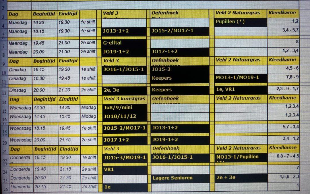 Trainingsschema 2021-2022 bekend voor alle (jeugd)elftallen